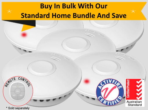 GS511E Standard Home Bundle - 5 GS511E 10yr Battery Wireless Interconnected Photoelectric Smoke Alarms with Remote Control