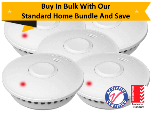 GS511E Standard Home Bundle – 5 GS511E 10yr Battery Wireless Interconnected Photoelectric Smoke Alarms