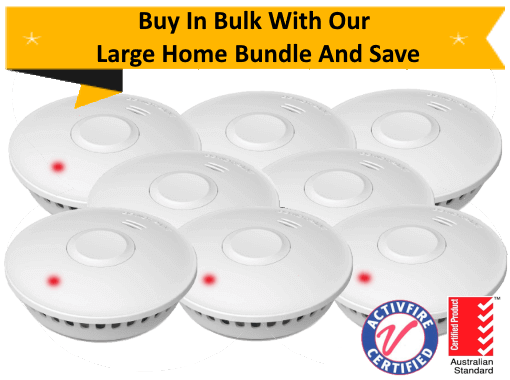 GS511E Large Home Bundle - 8 GS511E 10yr Battery Wireless Interconnected Photoelectric Smoke Alarms